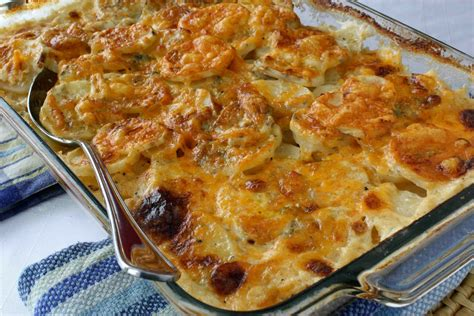 scalloped potatoes recipe with gorgonzola parmesan cheddar cheeses cookin canuck