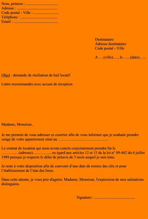 Exemple De Lettre Pour Quitter Logement Exemple Preavis Logement Non Meuble Document