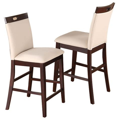 pc dining high counter height side chair bar stool  espresso cream pu seat ebay