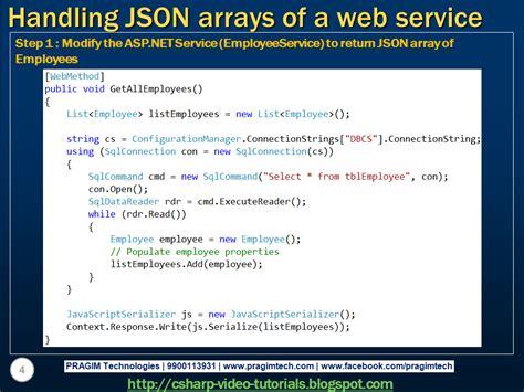 tutorial json web service sql server net and c video tutorial handling json