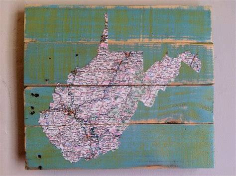Decoupage Map - west virginia map decoupage pallet upcycled recycled