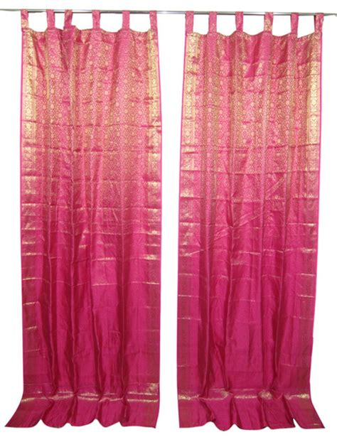 Pink And Gold Curtains 2 Pink Gold Saree Curtain Drapes Panels Window Treatment Asian Curtains By Mogul Interior