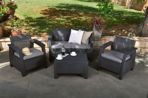 keter corfu 4 piece set all weather outdoor patio garden