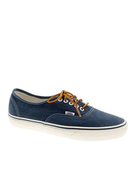 Vans California Blue Canvas vans washed canvas authentic sneakers in blue for