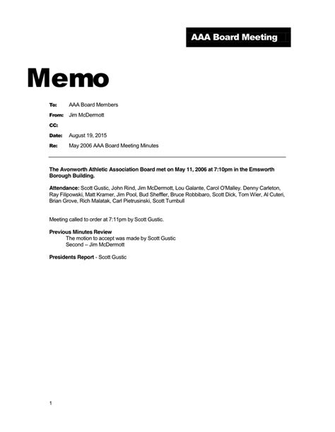 professional memo in word and pdf formats