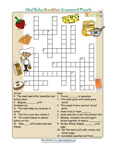 printable nutrition images printable crossword puzzles for kids from nourish