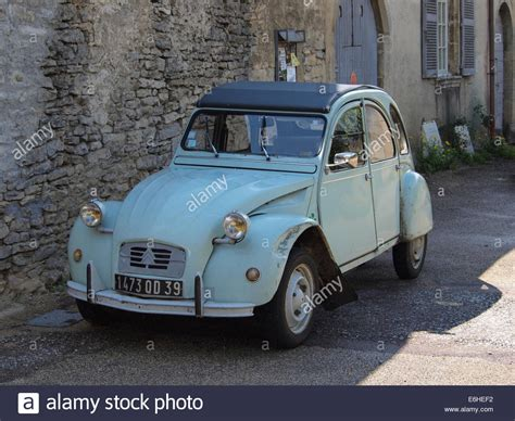 Light Blue Vintage Citroen 2cv Car Parked In A In