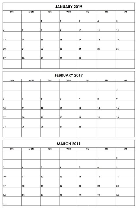 january february march  quarter   printable calendar templates calendar template