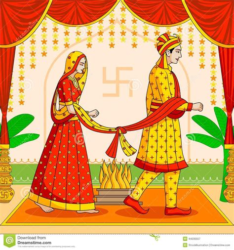 and groom in indian hindu wedding stock vector