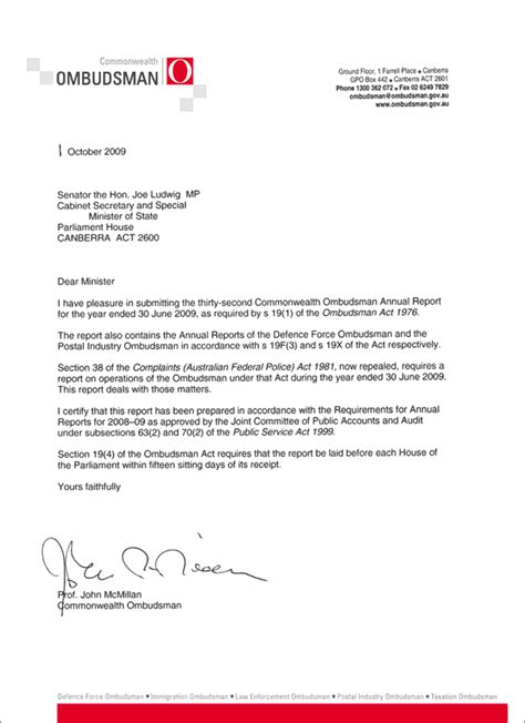 Transmittal Letter Sle For Report Commonwealth Ombudsman Annual Report 2008 09 Transmittal Letter Commonwealth Ombudsman