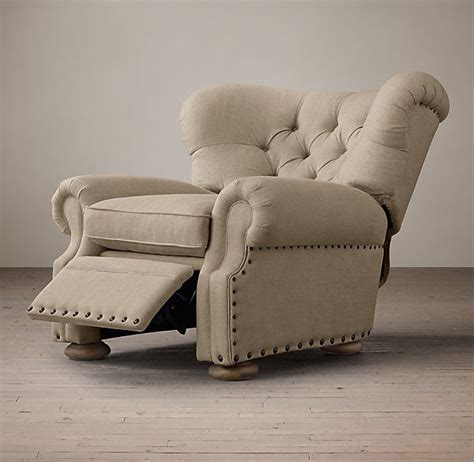 restoration hardware churchill leather recliner with nailheads churchill upholstered recliner with nailheads loved this
