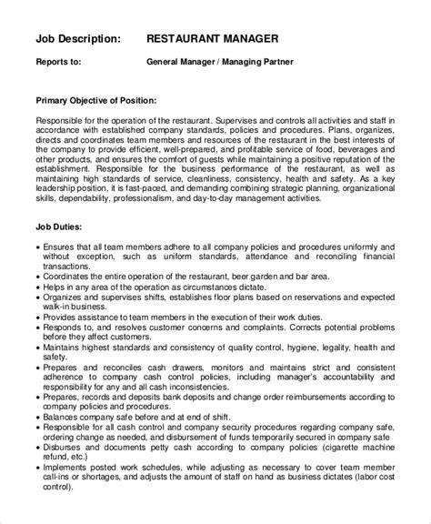 restaurant manager duties restaurant general manager description sle supervisor