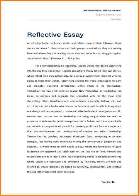 Exle Of An Reflective Essay by Academic Reflective Essay Exles