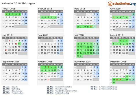 kalender  ferien thueringen feiertage