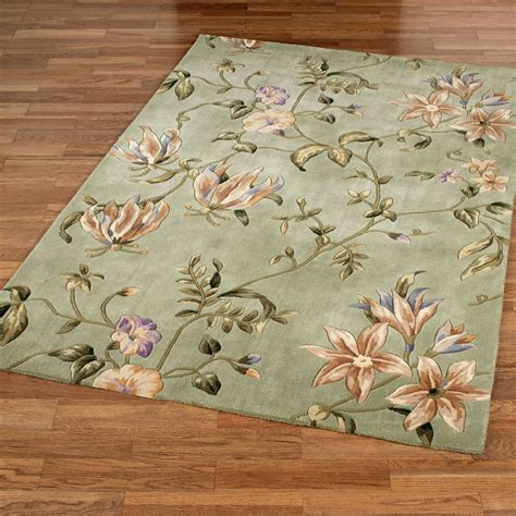 Secret Floral Sage Area Rugs Flower Rug