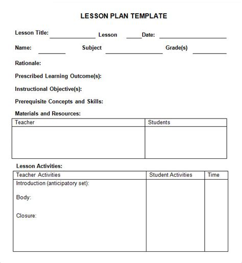 weekly lesson plan samples sample templates