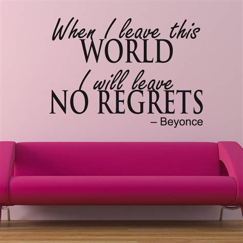 wall stickers quotes uk beyonce no regrets wall sticker quote wall chimp uk