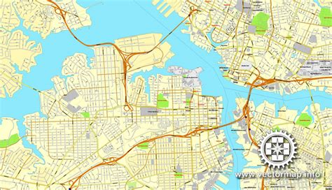 Zip Code Map Hton Roads | hton roads virginia us vector map v 2 adobe pdf editable