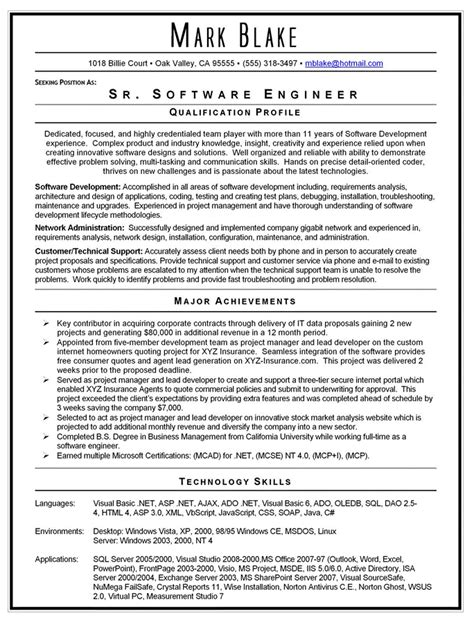 engineer resume exle doc software engineer resume template doc rimouskois resumes