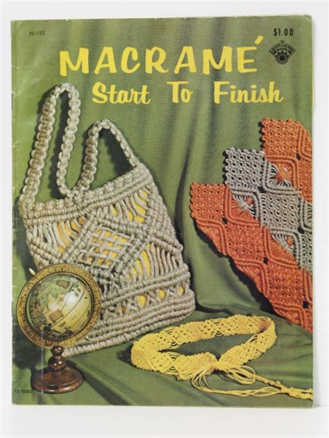 Macrame Pattern Books - 70s purse macrame start to finish 1971 macrame start