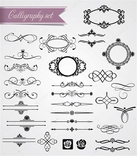 Calligraphy Decorations by Calligraphy And Frame Decorations Stock Vector