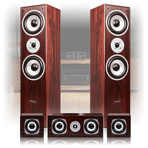 5 0 surround sound speakers walnut finish home cinema hi