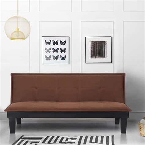 Futon Schlafcouch by Brown Ikayaa Microfiber 3 Seater Sleeper Sofa Bed Brown