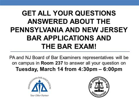 the pa and nj board of bar examiners will be on cus to answer questions