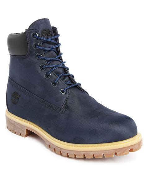 blue timberland boots mens timberland 6 inch blue leather boots in blue for lyst