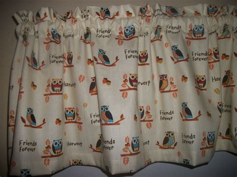 owls woodsy kitchen nursery harvest fabric window curtain
