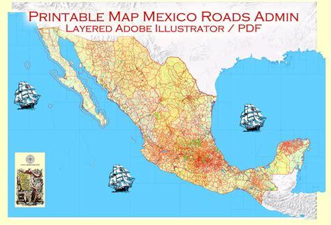 printable us airports map map mexico pdf editable vector topo roads admin ports airports