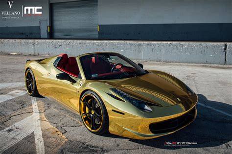 chrome gold ferrari gold ferrari 458 italia spider on vellano forged wheels