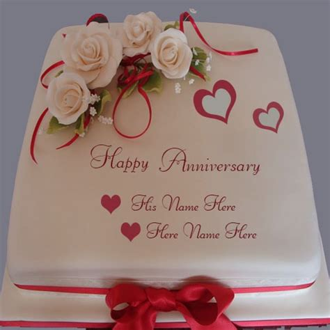 Wedding Anniversary Edit Name by Happy Anniversary Cake With Name Editor
