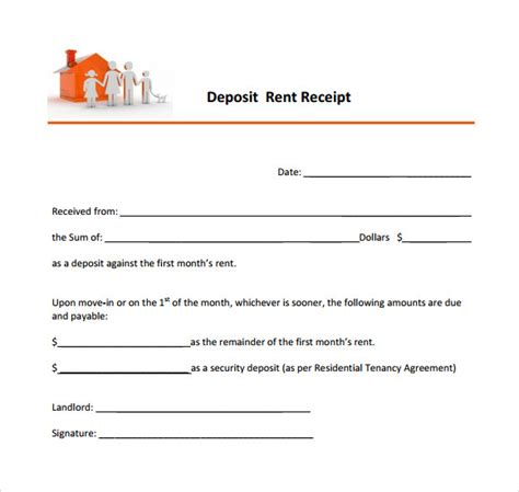 rental security deposit receipt template 11 printable receipt templates free sles exles
