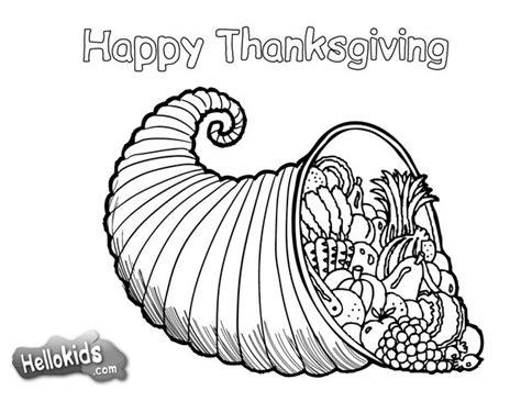 thanksgiving cornucopia coloring pages hellokids com