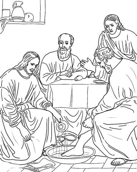 Free Jesus Washing The Disciples Feet Coloring Pages Jesus Washes The Disciples Coloring Page