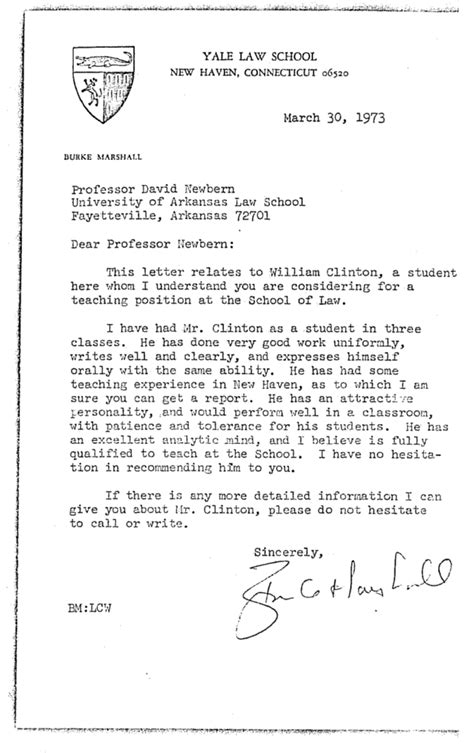 Letter Of Recommendation For College Professor Position here s bill clinton s personnel file from his time as an