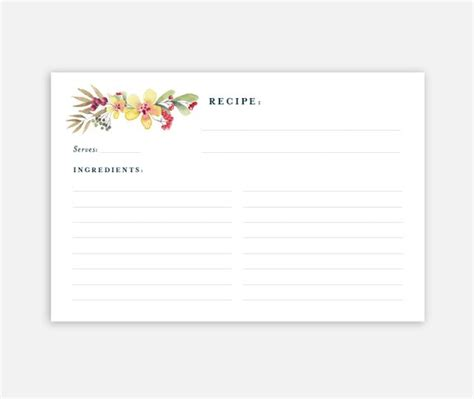 Printable Recipe Card 4x6 Recipe Card Recipe Card Template 4x6 Recipe Card Template