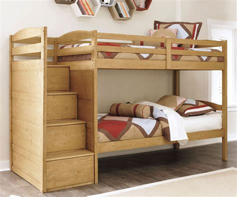 broffin  twin  twin size bunk bed ashley furniture light brown finish kids bunk bed