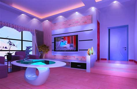 Purple Interior Design Purple Walls And Purple Sofa For Living Room Design Rendering 3d House Free 3d House Pictures