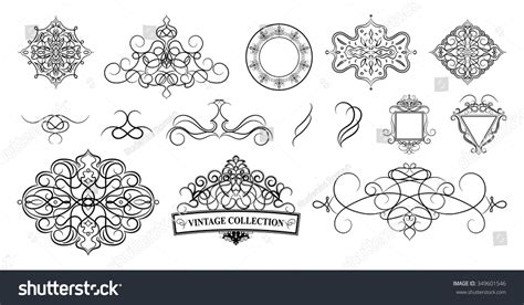 Wedding Album Logo by Set Vintage Borders Frame Rosette Decoration Stock Vector