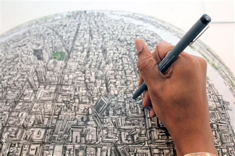 New Drawing Drawing Globe Of New York Stephen Wiltshire Image