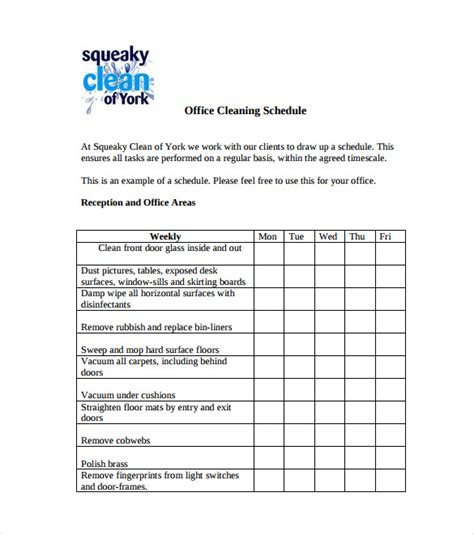 bathroom cleaning schedule template 16 free word excel