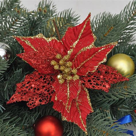 glitter artificial hollow christmas flowers xmas tree