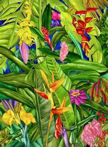 tropical flowers and plants banana plant in a sea of tropical flowers ruth