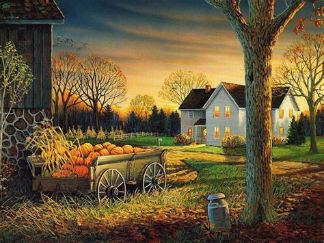 Fall Farmhouse Wallpaper Fall Wallpaper And Screensavers Autumn Wagon