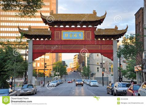 Commercial Building Plans chinatown gateway in montreal canada editorial photo