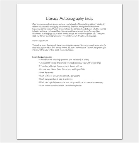 Literacy Autobiography Essay by Autobiography Outline Template 23 Exles And Formats