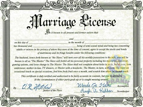 fake marriage license hahaprank com llc