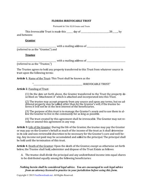 Download Florida Irrevocable Living Trust Form Pdf Rtf Word Freedownloads Net Carolina Living Trust Template